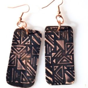 Copper Earrings Embossed Geometric Handmade Tribal